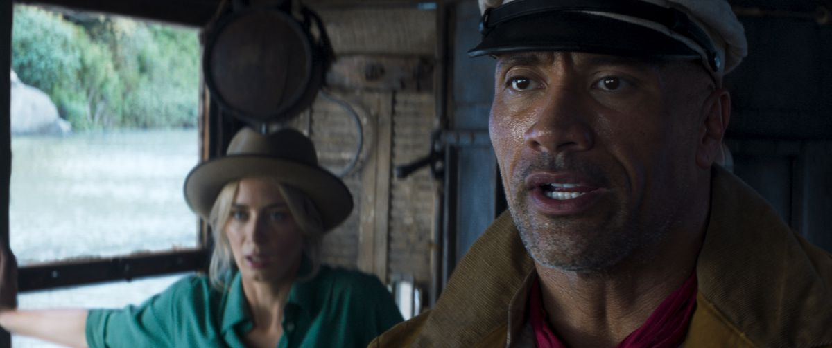 """Emily Blunt and Dwayne Johnson in Disney's """"Jungle Cruise."""""""