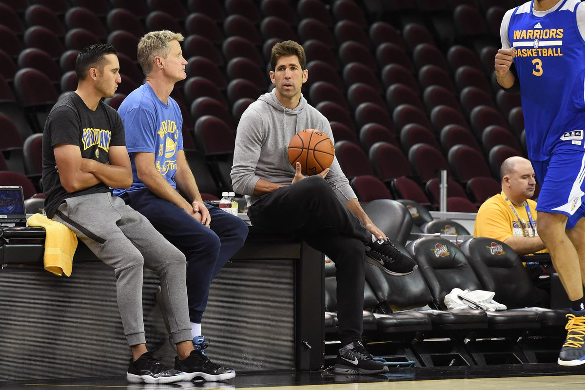 Bob Meyers of the Golden State Warriors looks on during practice and media availability as part of the 2017 NBA Finals on June 06, 2017 at Quicken Loans Arena in Cleveland, Ohio.