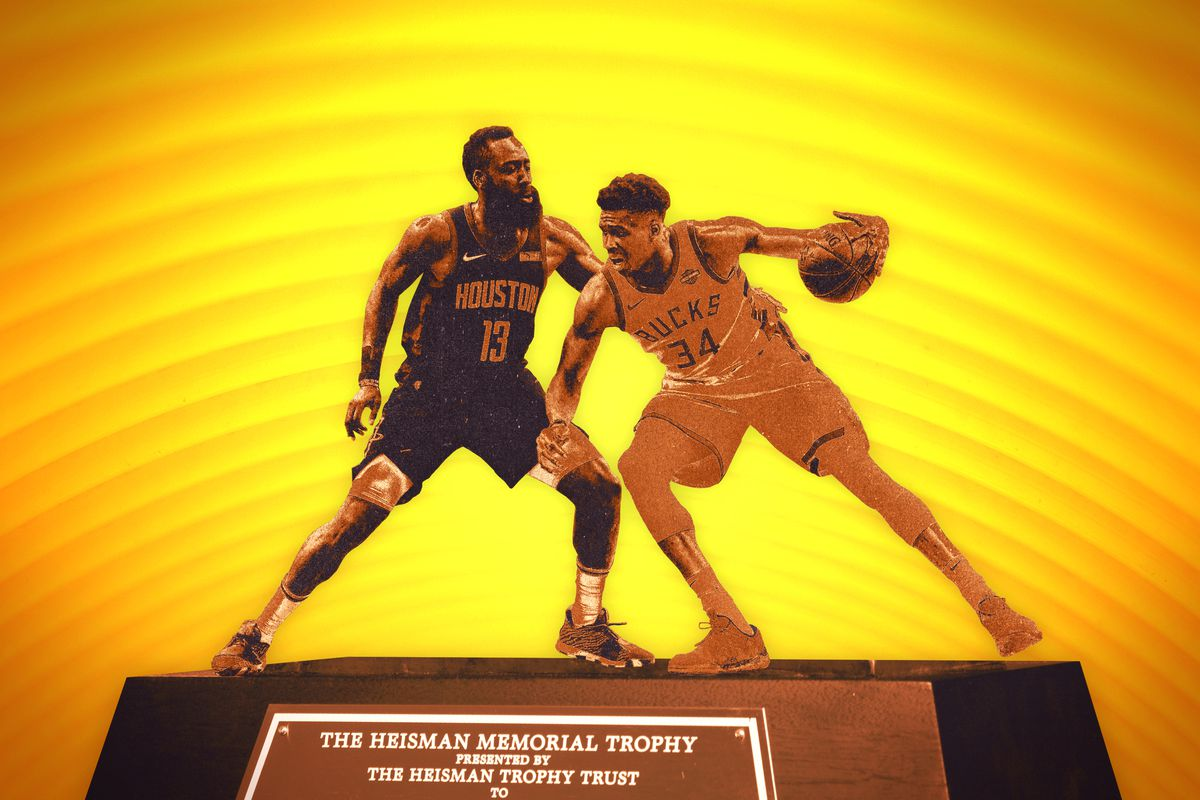 A photo illustration featuring James Harden of the Houston Rockets and Giannis Antetokounmpo of the Milwaukee Bucks playing each other on top of a Heisman trophy base