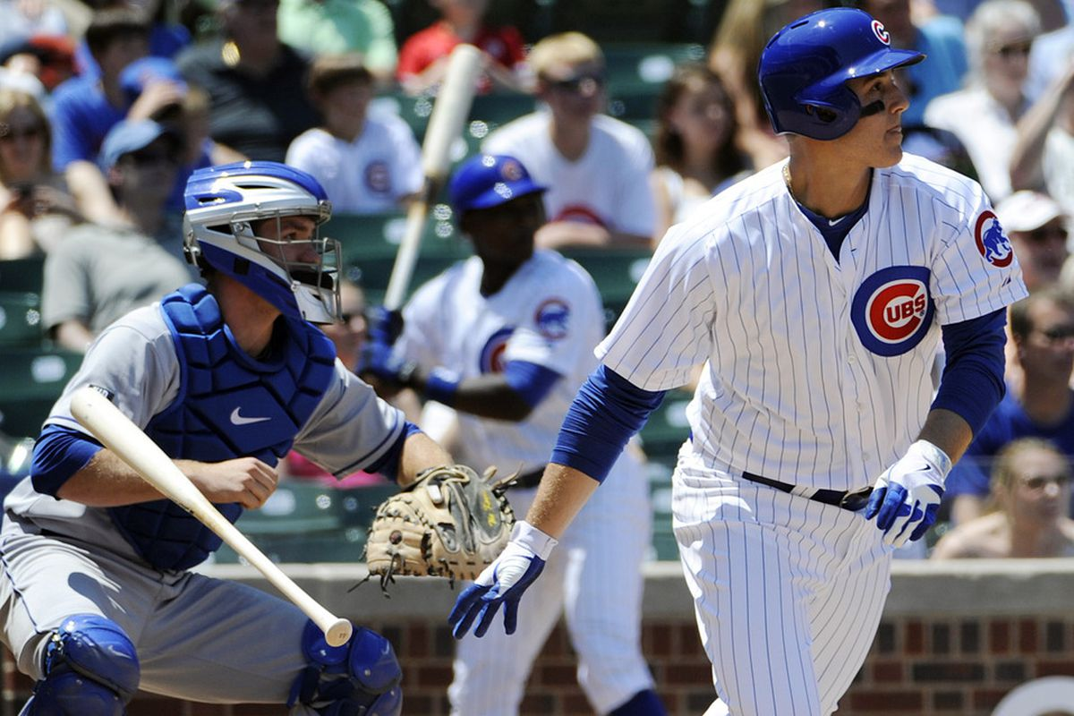 June 27, 2012; Chicago, IL, USA;  Chicago Cubs first baseman Anthony Rizzo (44) hits a double in the third inning against the New York Metsat Wrigley Field.  Mandatory Credit: David Banks-US PRESSWIRE