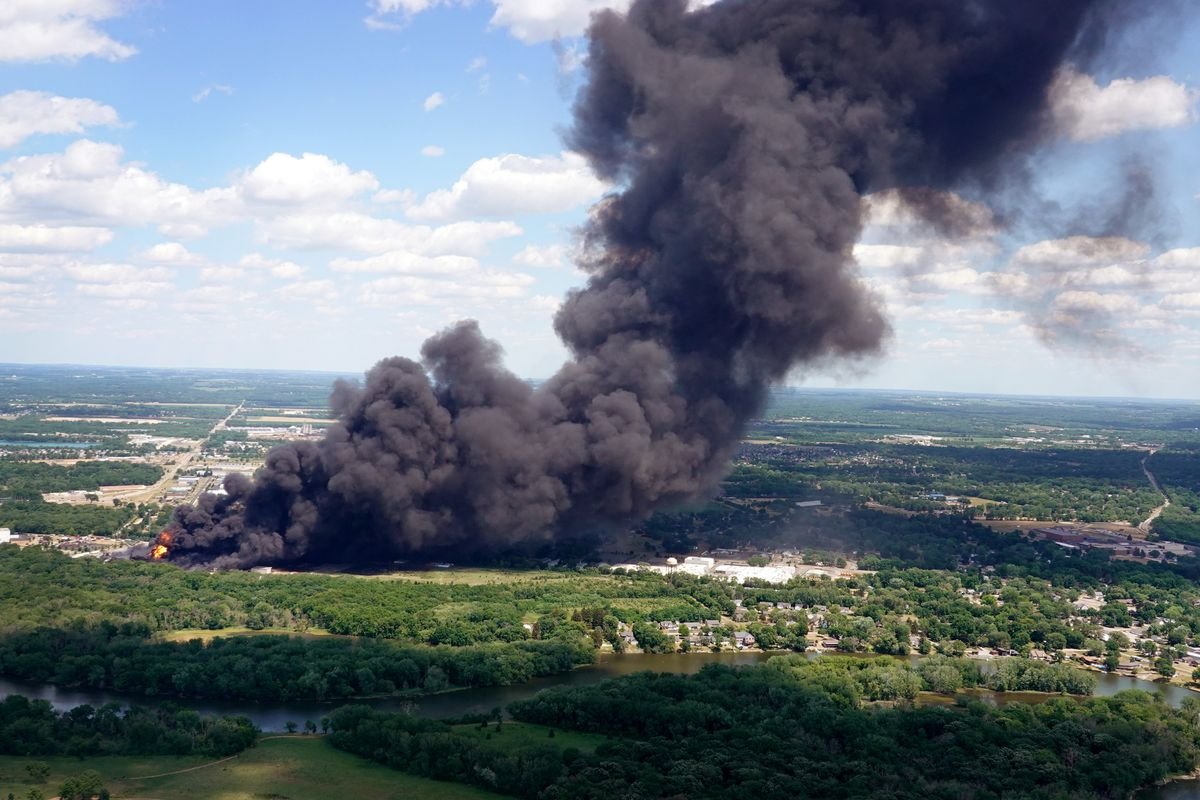Firefighters from Northern Illinois and Southern Wisconsin battle an industrial fire at Chemtool Inc. on June 14, 2021 in Rockton, Illinois.