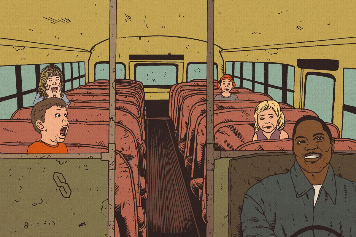 Illustration of the rapper Mase on a school bus with children