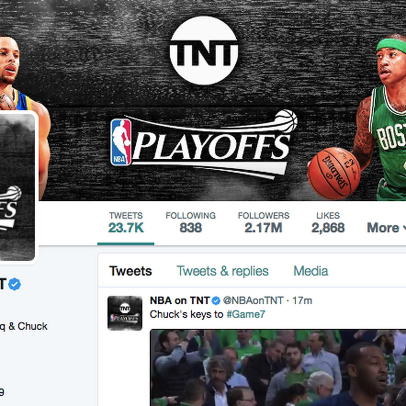 nba on tnt's twitter account seems to have already decided the