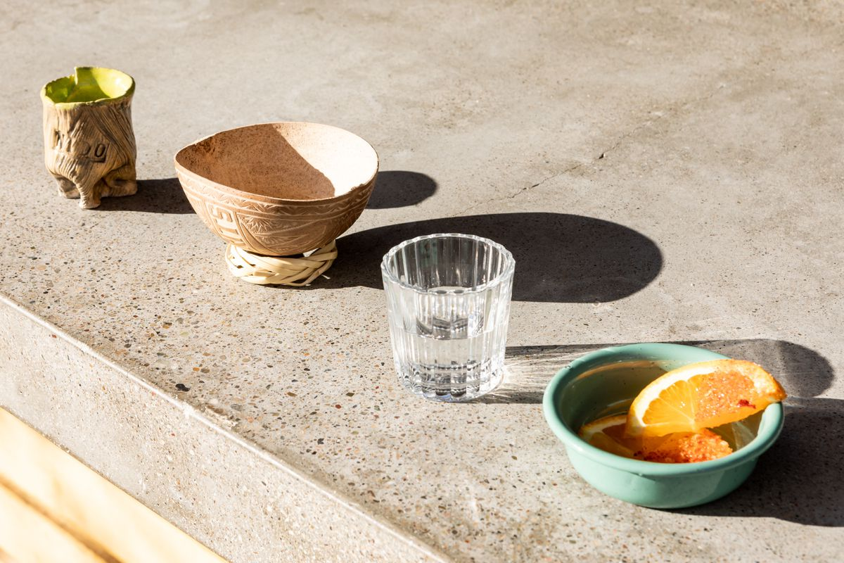 Glasses and cups for tasting mezcal and tequila