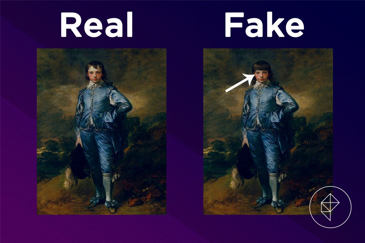 A comparison showing that the boy in the fake Basic Painting has more hair