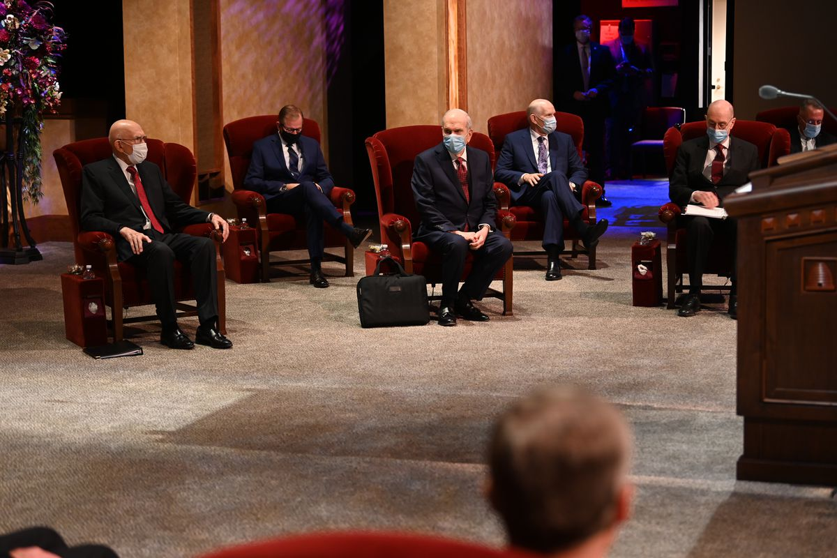 Members of the First Presidency and Quorum of the Twelve Apostles are seated in the Conference Center Theater for the Saturday morning session of the 190th Semiannual General Conference of The Church of Jesus Christ of Latter-day Saints on Oct. 3, 2020.