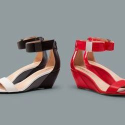 Wedge sandals in Apple red and black/gray/white, $29.99 each