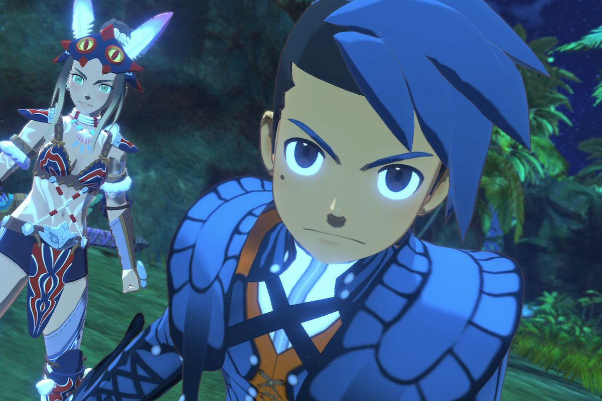 Two characters from Monster Hunter Stories 2: Wings of Ruin stand ready for combat