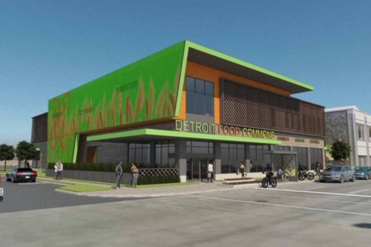 An illustration of two-story, modern building with a bright-green and orange exterior.