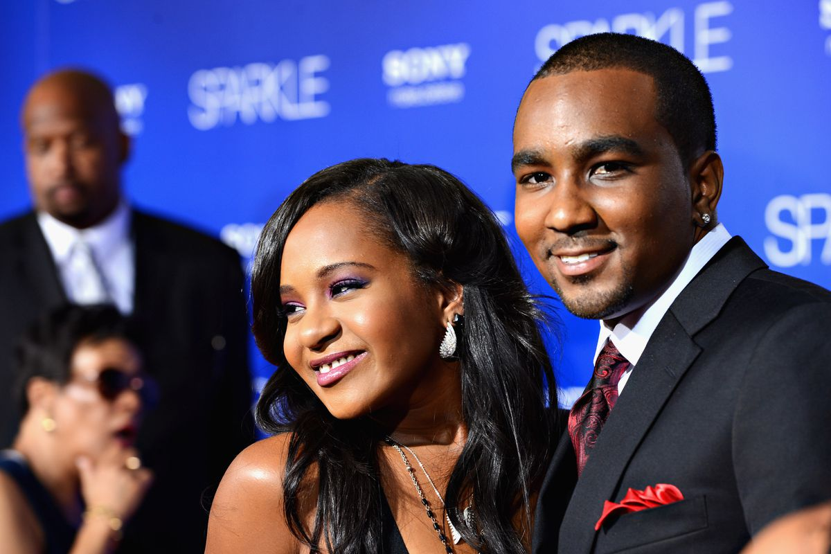 """Kristina Brown (R) and Nick Gordon arrive at Tri-Star Pictures' """"Sparkle"""" premiere at Grauman's Chinese Theatre on August 16, 2012 in Hollywood, California."""