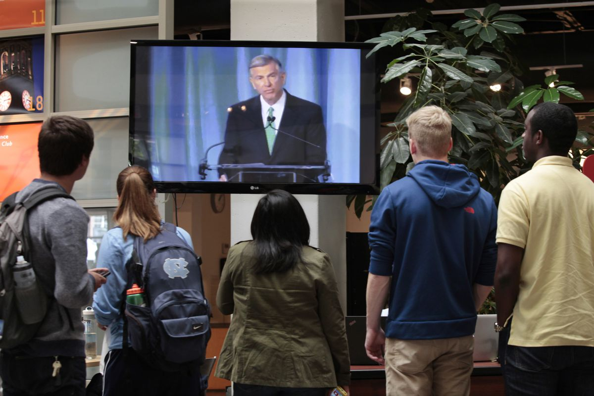 UNC students watch as the results of the latest investigation are unveiled.