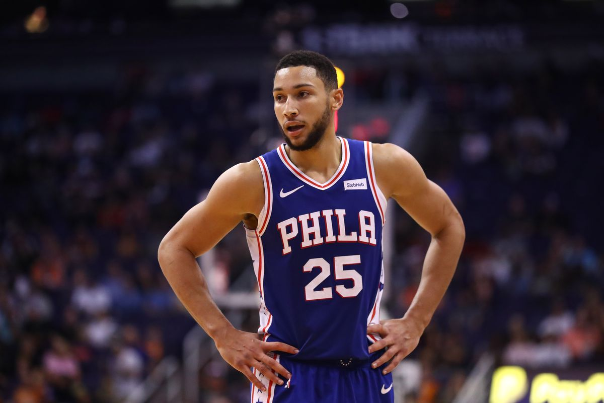 Philadelphia 76ers guard Ben Simmons against the Phoenix Suns in the second half at Talking Stick Resort Arena.
