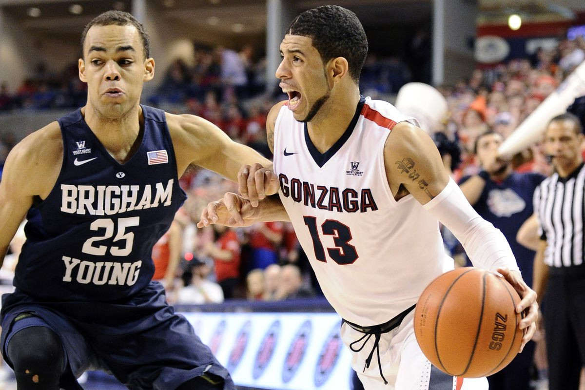 BYU's Jordan Chatman guards Gonzaga's Josh Perkins.