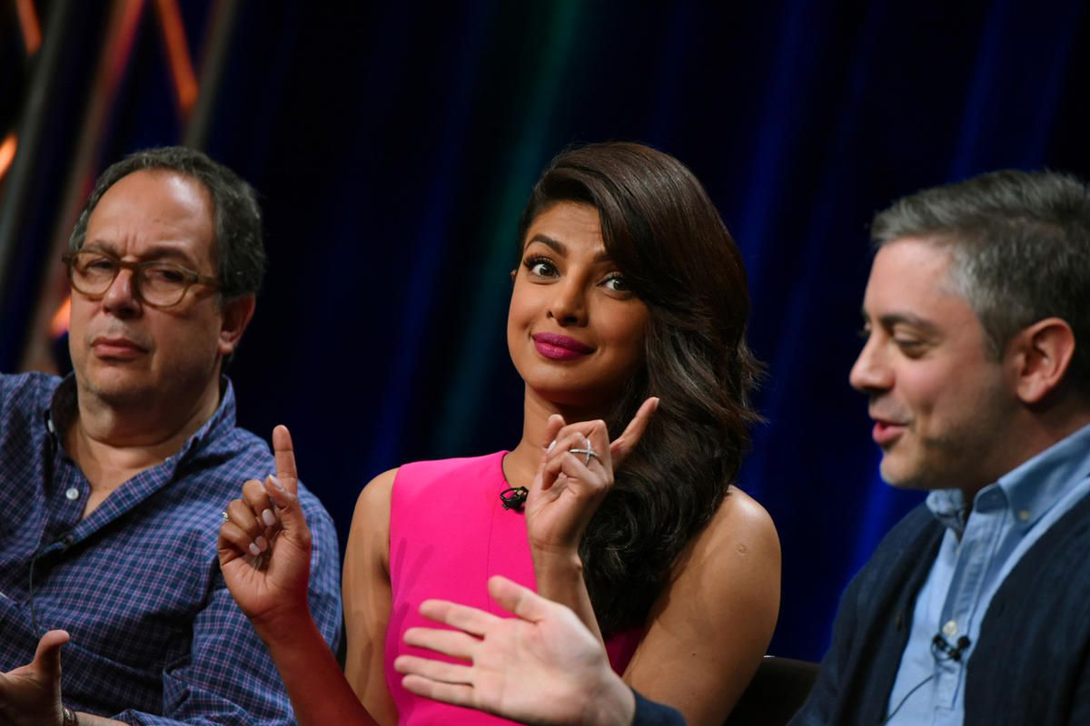 """Executive producer Mark Gordon, from left, actress Priyanka Chopra, and writer/executive producer Joshua Safran appear during the """"Quantico"""" panel at the Disney/ABC Summer TCA Tour at the Beverly Hilton Hotel on Tuesday, Aug. 4, 2015 in Beverly Hills, Cal"""