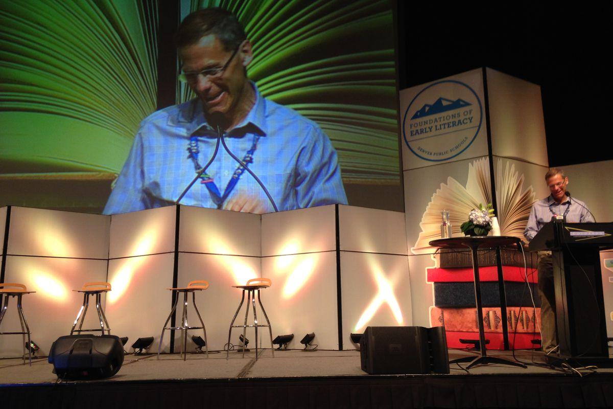 Denver Superintendent Tom Boasberg addresses teachers at an early literacy training session.