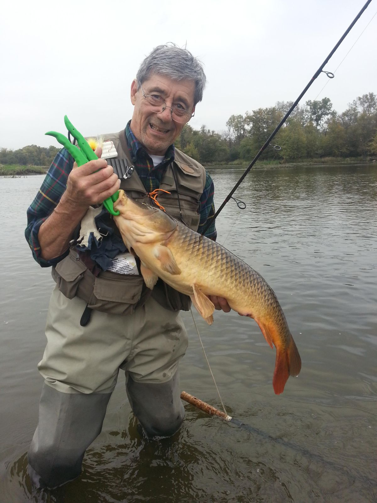 Ed Buric with a carp from the Des Plaines River. Provided photo