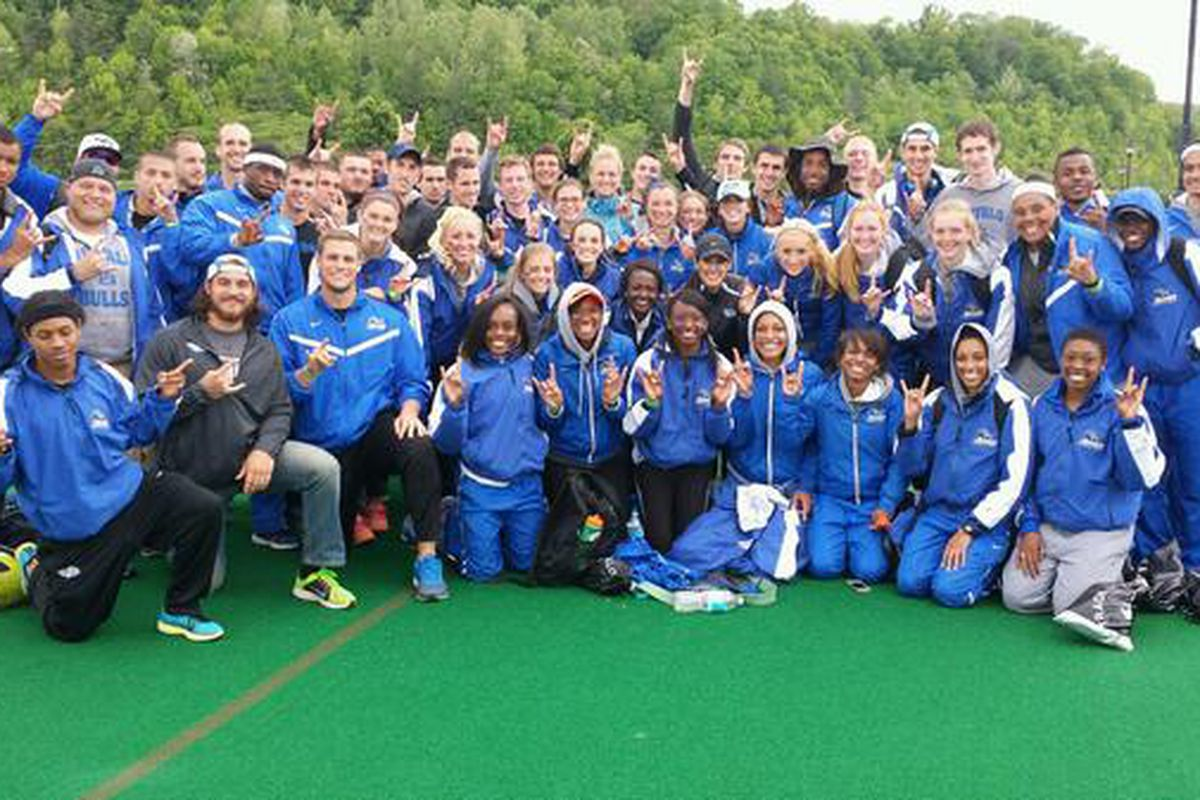 The UB Track and Field team at the 2014 MAC Championships in Athens, Ohio