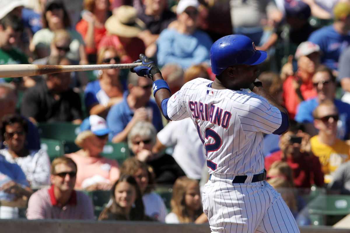 Alfonso Soriano of the Chicago Cubs bats against the Pittsburgh Pirates at Wrigley Field in Chicago, Illinois.  (Photo by Tasos Katopodis/Getty Images)