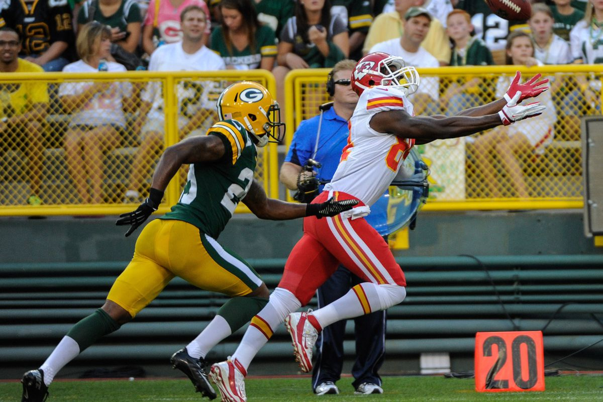 Aug 30, 2012; Green Bay, WI, USA;   Kansas City Chiefs wide receiver Jamar Newsome (84) cannot catch a pass while defended by Green Bay Packers defensive back Casey Hayward (29) at Lambeau Field.  Mandatory Credit: Benny Sieu-US PRESSWIRE