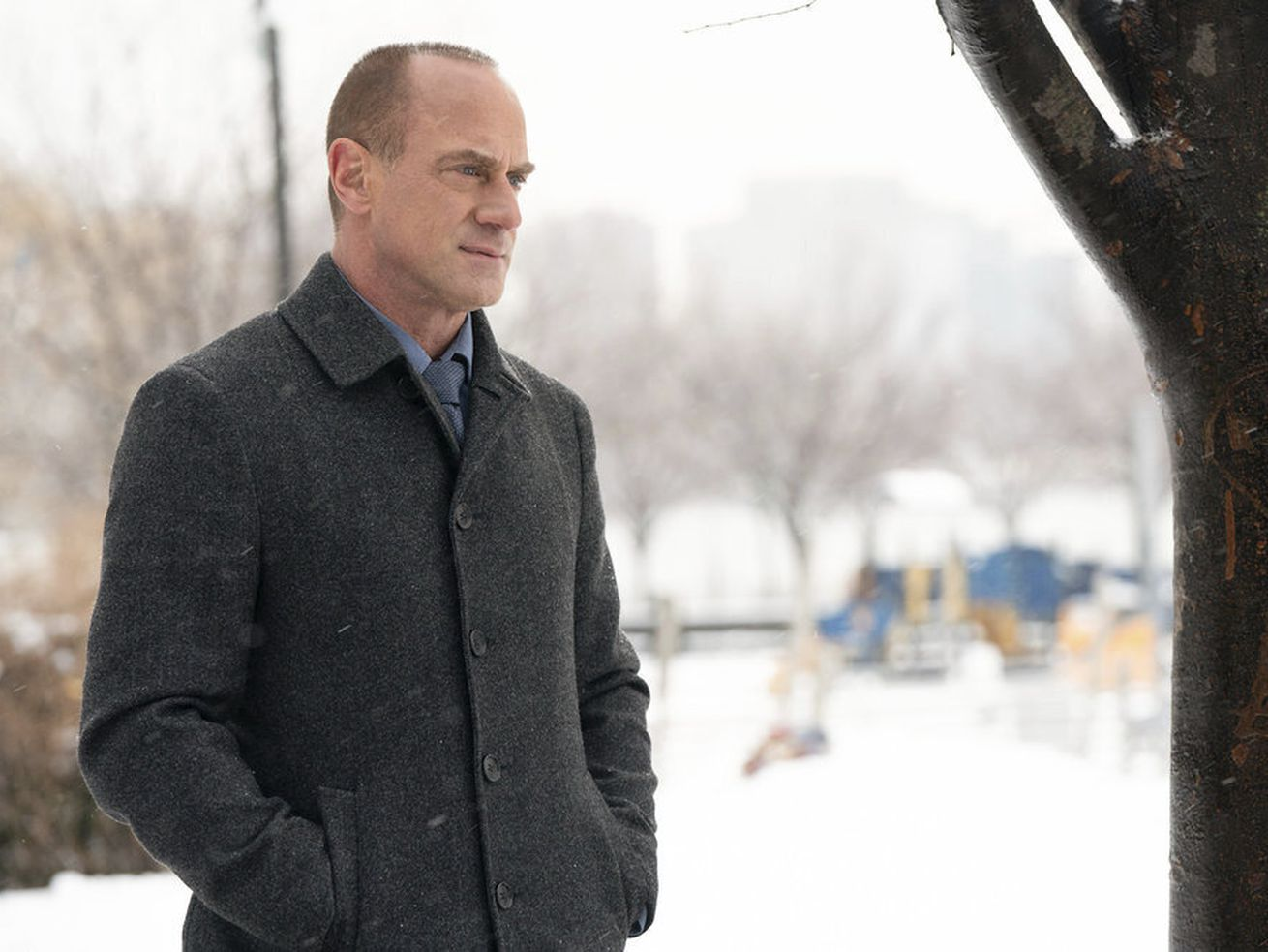 """Christopher Meloni portrays Det. Elliot Stabler in a scene from the new """"Law & Order: Organized Crime"""" series premiering April. 1 on NBC."""