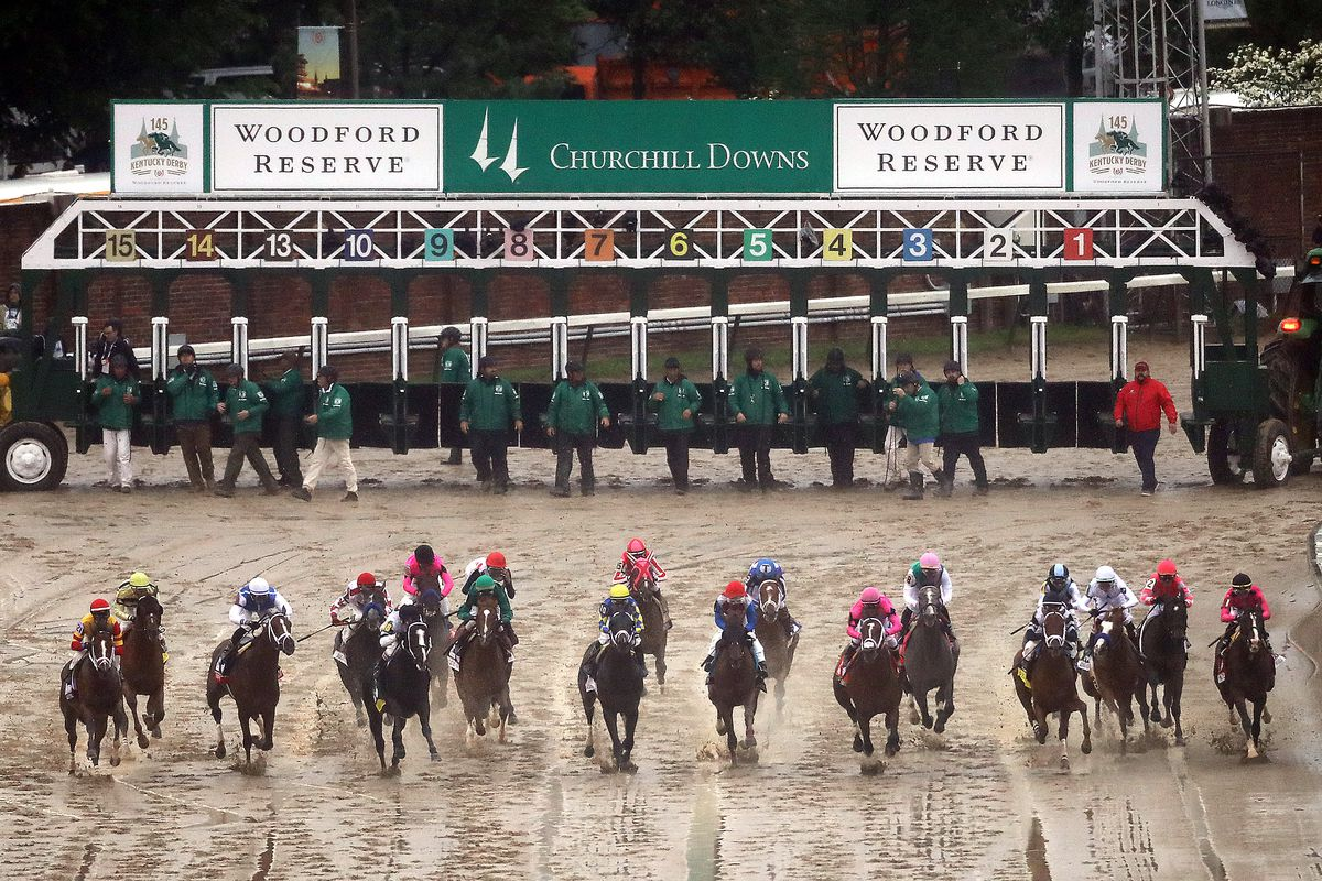 The field breaks from the gate at the start of the 145th running of the Kentucky Derby at Churchill Downs on May 04, 2019 in Louisville, Kentucky.