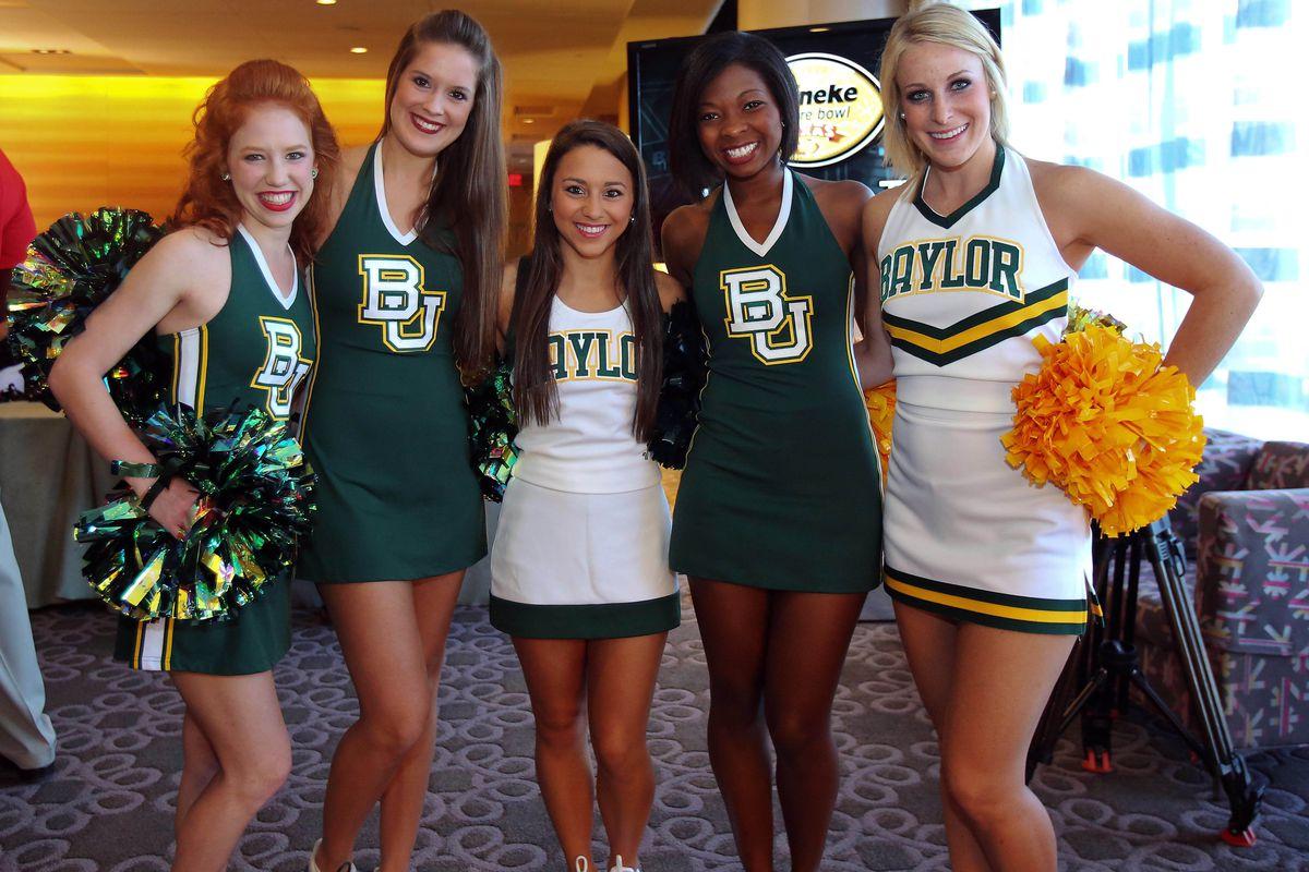 Jul 23, 2012; Dallas, TX, USA; Baylor Bears cheerleaders pose for a photo  during Big 12 Media Day at the Westin Galleria.  Mandatory Credit: Kevin Jairaj-US PRESSWIRE