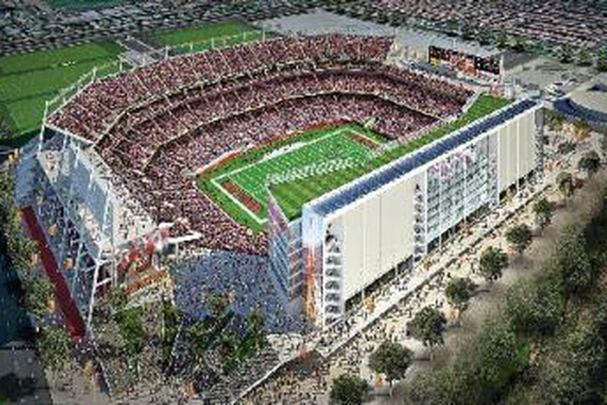 A rendering of the 49ers projected new stadium in Santa Clara