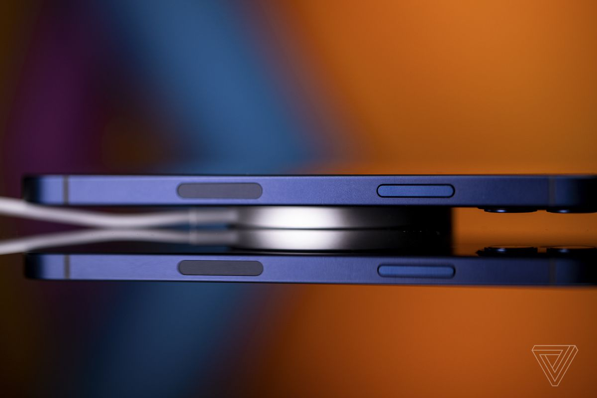 The MagSafe charging puck is thin, light, and can power the iPhone 12 at 15W.
