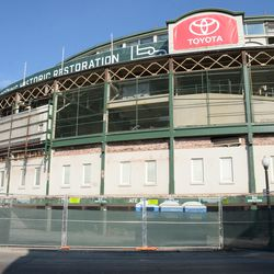 11:06 a.m. The Addison Street side of the front of the ballpark -