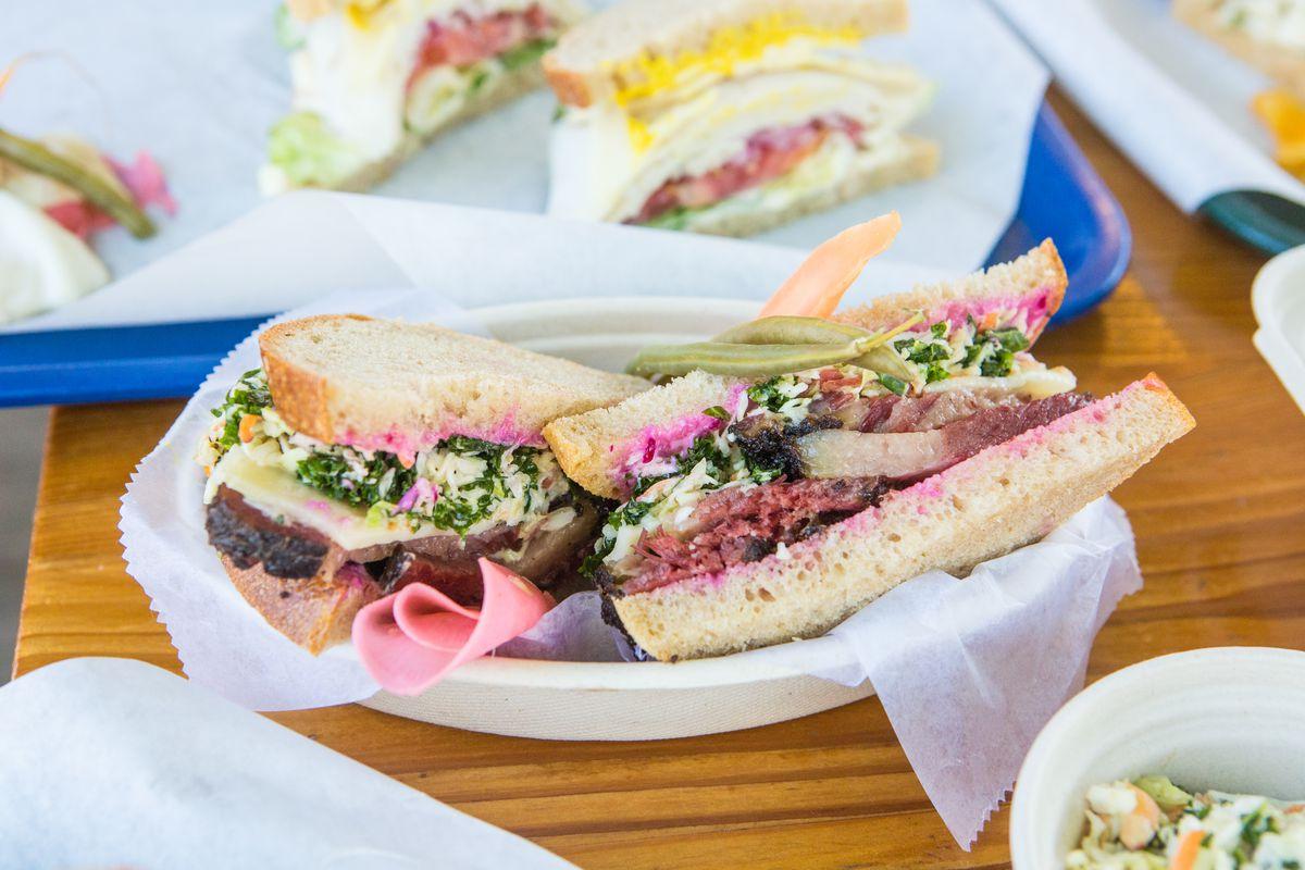A pastrami sandwich at Mum Foods Deli