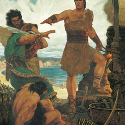 """""""Nephi Subdues His Rebellious Brothers (Nephi Rebuking His Rebellious Brothers),"""" is a painting by Arnold Friberg."""