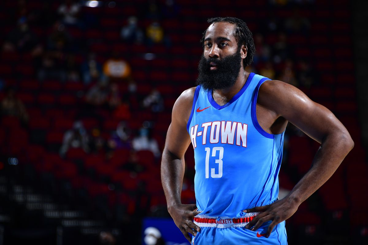 James Harden of the Houston Rockets looks on during the game against the Los Angeles Lakers on January 12, 2021 at the Toyota Center in Houston, Texas.