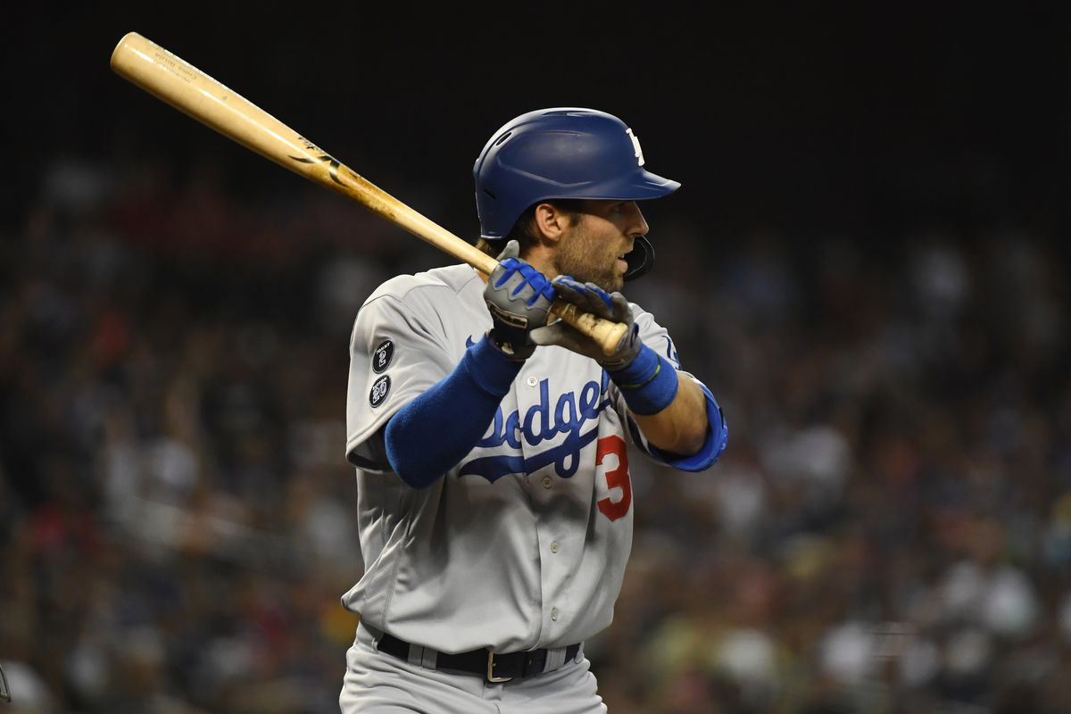 Chris Taylor of the Los Angeles Dodgers gets ready in the batters box against the Arizona Diamondbacks at Chase Field on June 18, 2021 in Phoenix, Arizona.