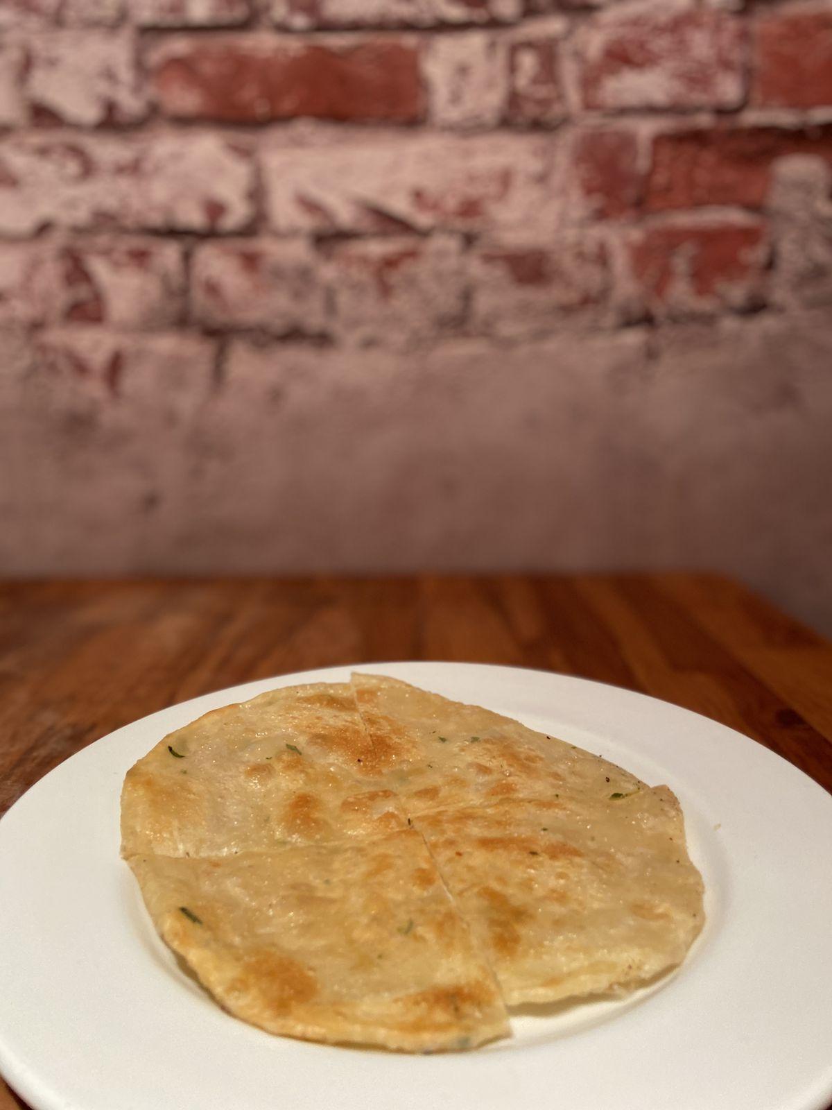 Spring onion pancake at Lucky Dog on Brick Lane