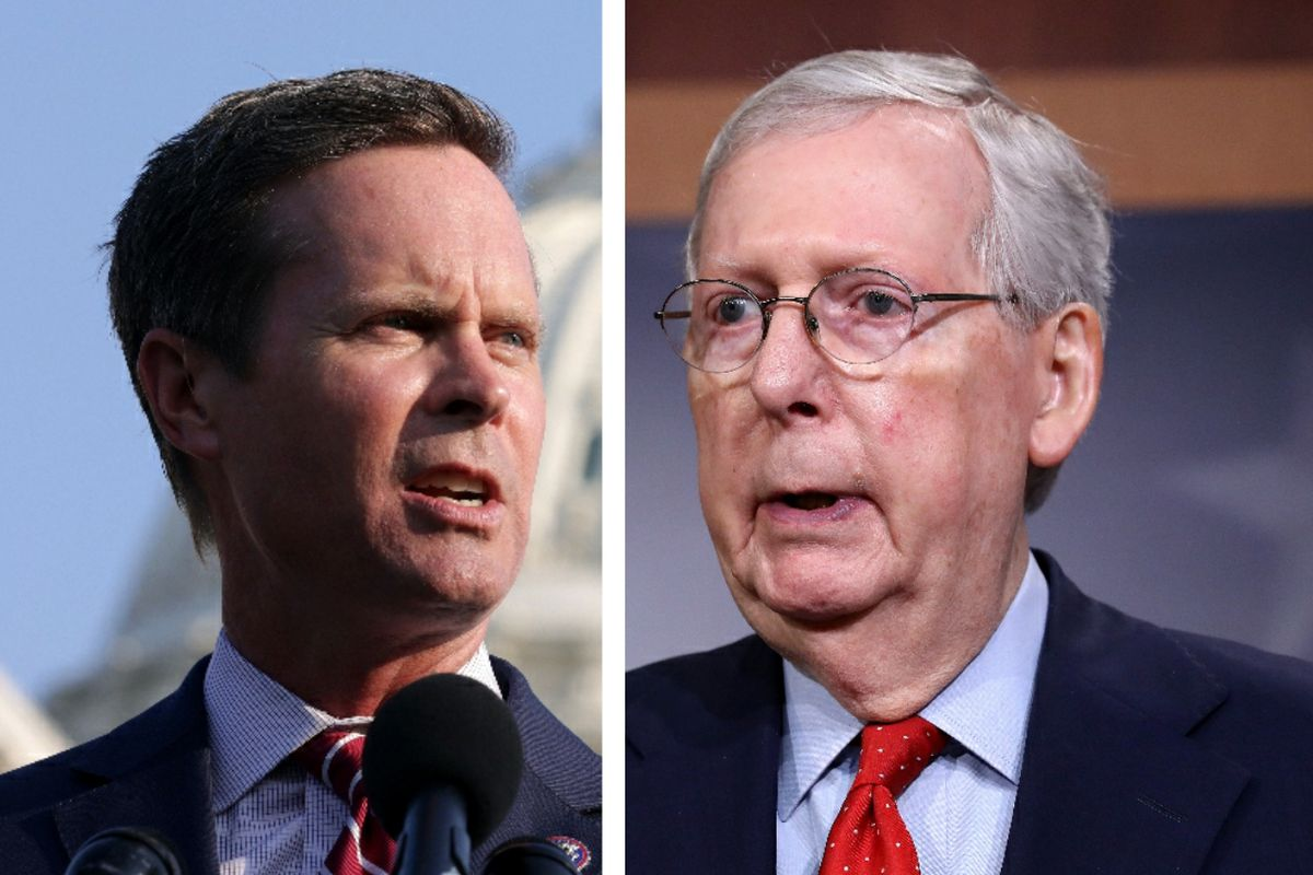 U.S. Rep. Rodney Davis, R-Ill, left, on July 27; Senate Majority Leader Mitch McConnell, R-Kentucky, right, in April.