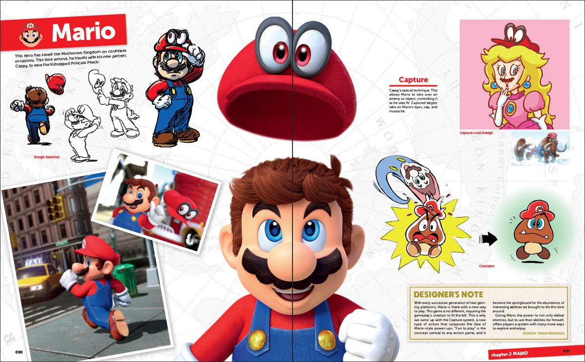 Concept artwork of Mario and Cappy from The Art of Super Mario Odyssey.