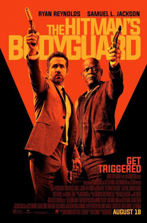 Movie poster for 'The Hitman's Bodyguard' with Ryan Reynolds and Samuel L. Jackson