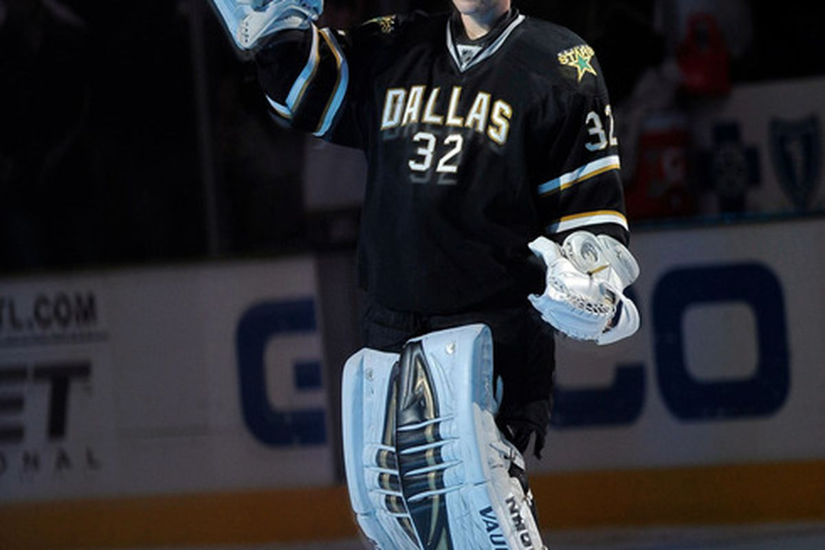 Mar 24, 2012; Dallas, TX, USA; Dallas Stars goalie Kari Lehtonen (32) waves to the crowd after the game against the Calgary Flames at the American Airlines Center. The Stars defeated the Flames 4-1. Mandatory Credit: Jerome Miron-US PRESSWIRE