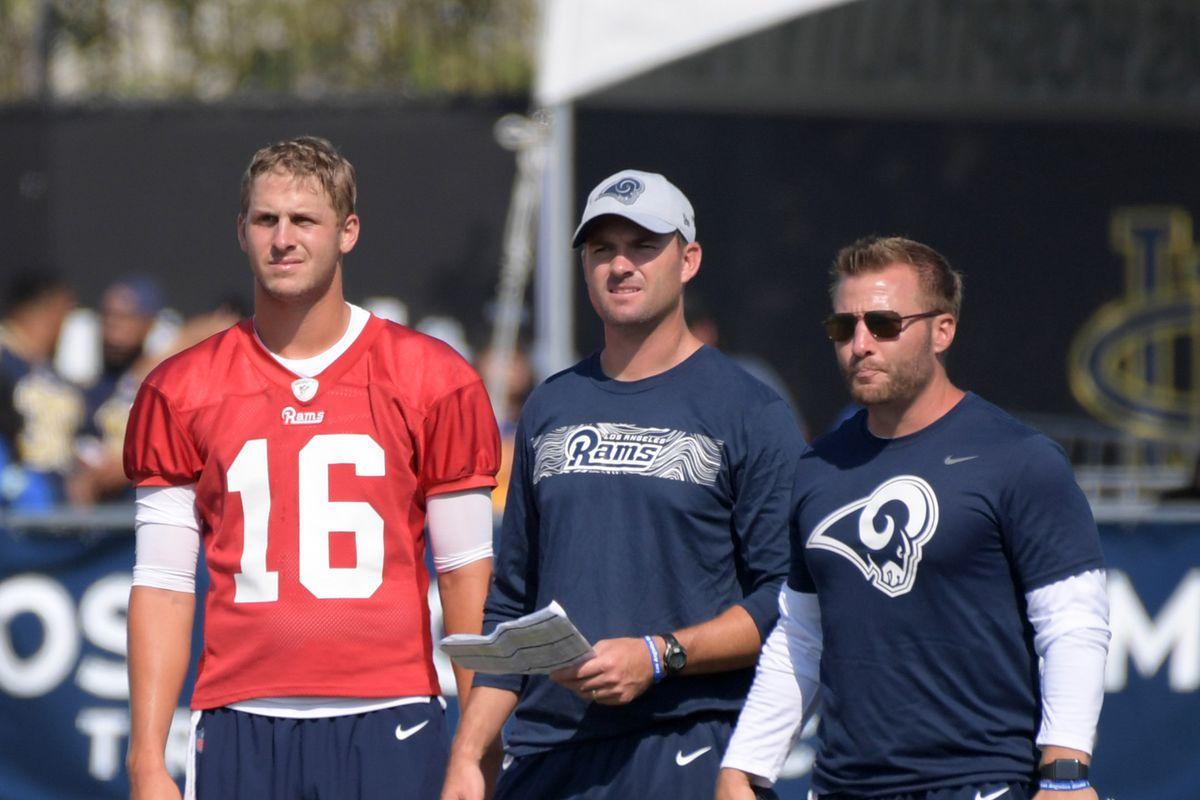 Los Angeles Rams QB Jared Goff, QB Coach Zac Taylor and HC Sean McVay at training camp, July 28, 2018.