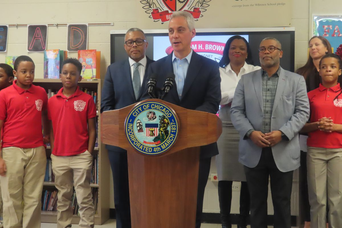 Schools chief Janice Jackson joined Mayor Rahm Emanuel and other city officials at the William H. Brown School of Technology on the Near West Side in announcing the program.