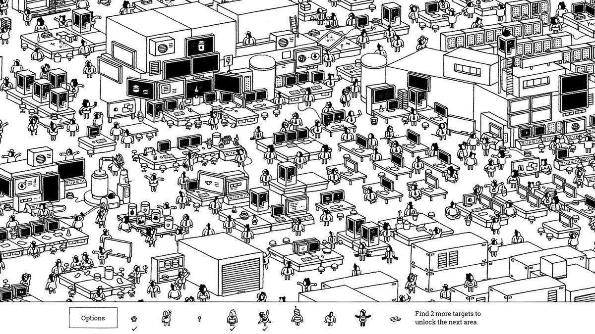 a crowded black and white street with lots of screens