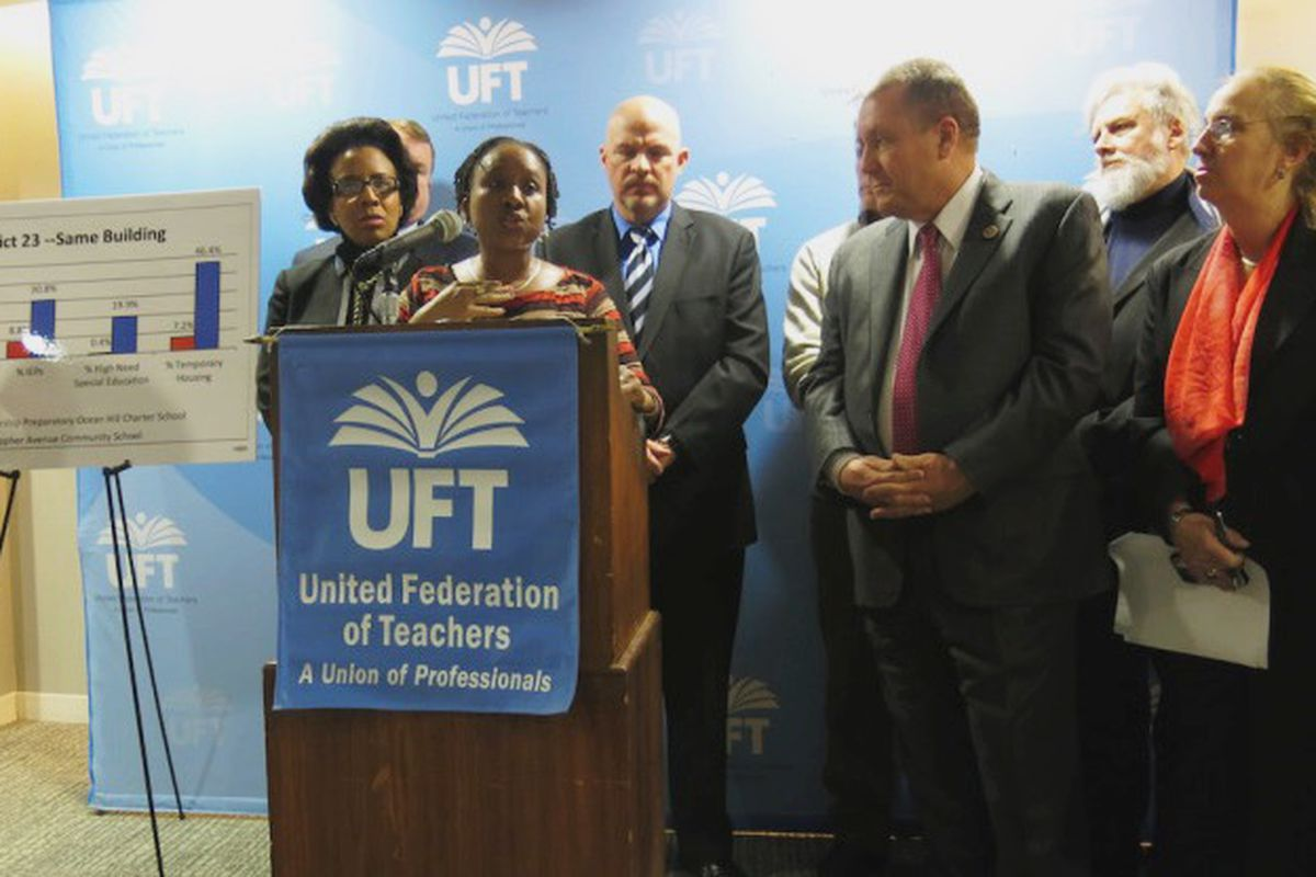 Elected officials and teachers join UFT President Michael Mulgrew at a press conference to spotlight enrollment inequities at charter schools.