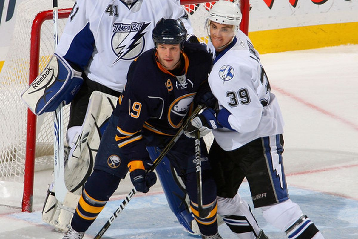 BUFFALO NY - NOVEMBER 20: Mike Lundin #39 and Mike Smith #41 of the Tampa Bay Lightning defend against Tim Connolly #19 of the Buffalo Sabres  at HSBC Arena on November 20 2010 in Buffalo New York.  (Photo by Rick Stewart/Getty Images)