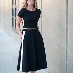 "Kimberly of <a href=""http://www.eatsleepwear.com""target=""_blank"">Eat Sleep Wear</a> is wearing a Cynthia Rowley <a href=""http://www.ebay.com/itm/Cynthia-Rowley-Crepe-Mesh-Short-Sleeve-Crop-Top-/261503374005?campid=5336983630&customid=1042858476""target=""_b"