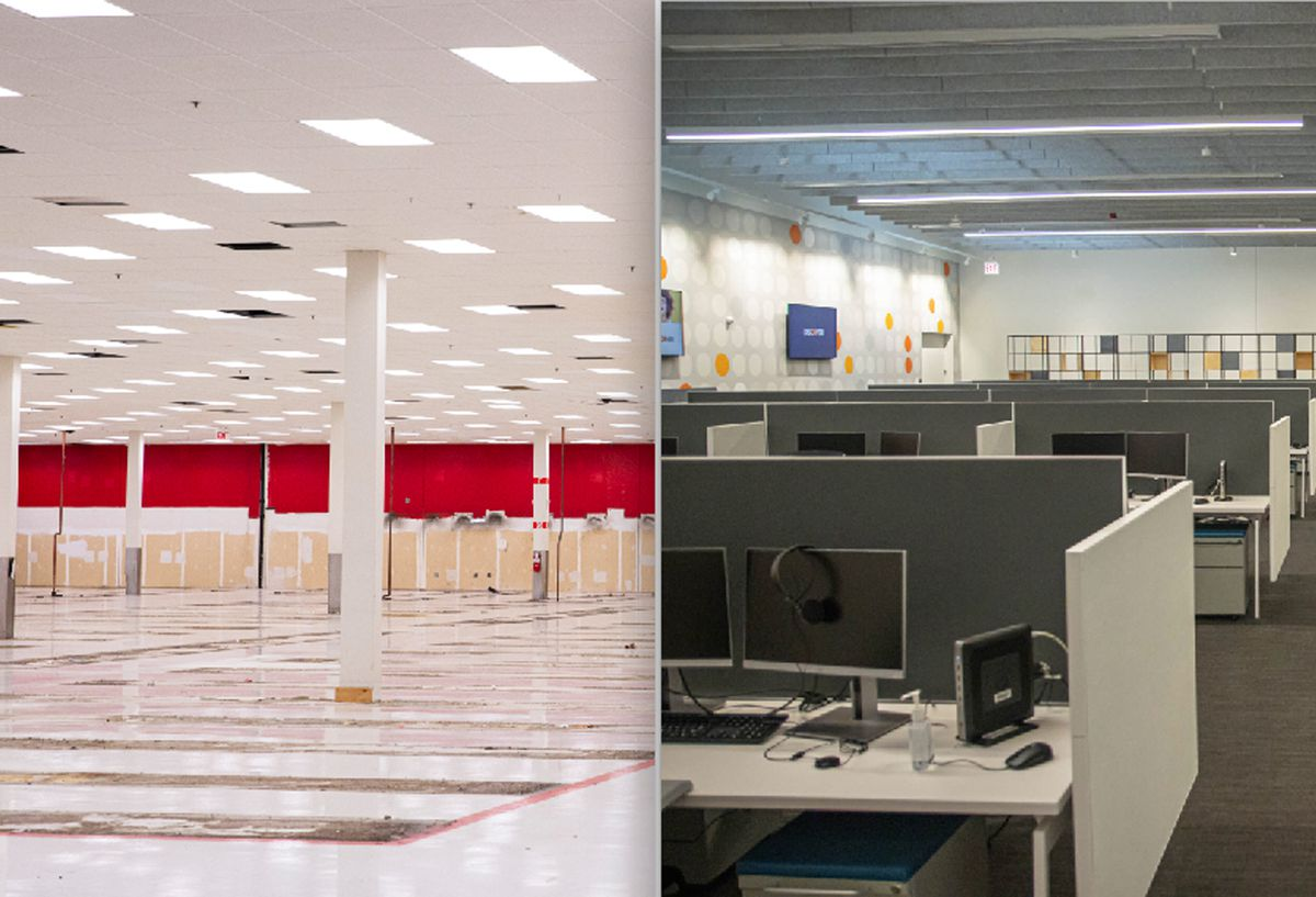 The community and many local officials protested when Target announced it would close its Chatham store (left). But the facility is now a call center for Discover that has the highest customer ratings in the company.