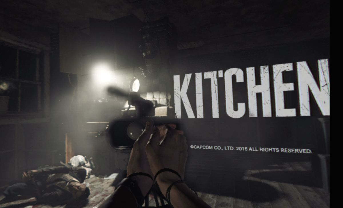 A screenshot from Kitchen, the Resident Evil 7 virtual reality tech demo.
