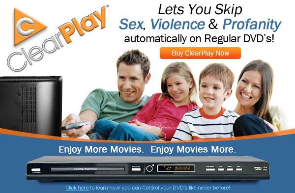 An ad for ClearPlay's DVD player