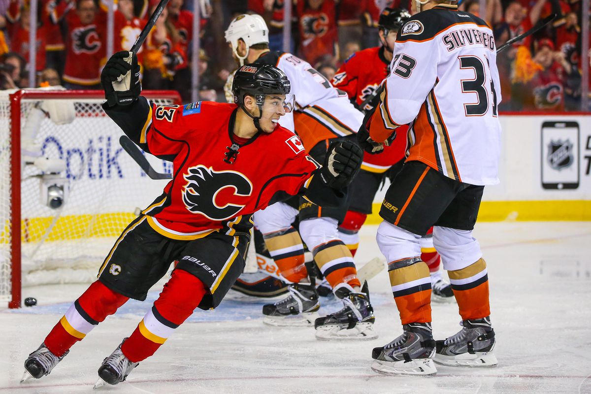 Johnny Gaudreau celebrates after tying the game.