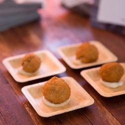 Mixed grain Arancini balls with Pecorini sauce. Crateful bringing that five-star service.
