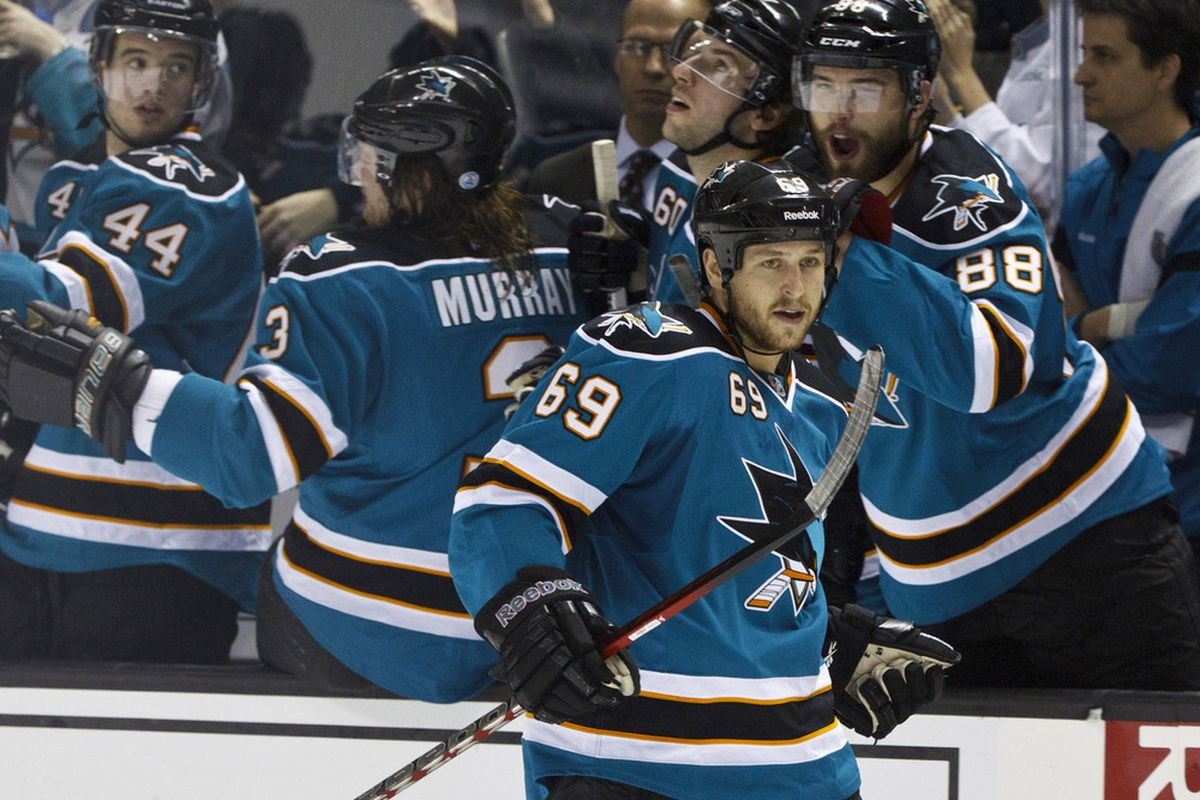 Mar 26, 2012; San Jose, CA, USA; San Jose Sharks center Andrew Desjardins (69) celebrates after scoring a goal against the Colorado Avalanche during the second period at HP Pavilion. Mandatory Credit: Jason O. Watson-US PRESSWIRE
